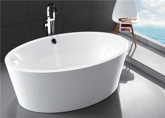 CUPC Standard Small Acrylic Oval Freestanding Tub Elegant Curved Design