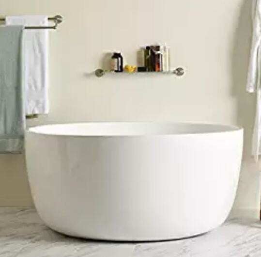 High End Small White Round Freestanding Bathtub With Overflow